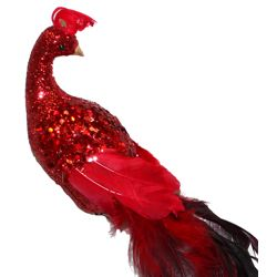 22in Long Red Glittered Peacock/ Feather Tail w/ Clip