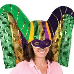 Masked Mardi Gras Hat w/ Sequined Drape