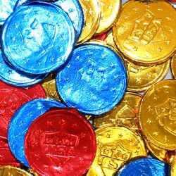 Blue/ Red/ Gold USA Bubble Gum Coins/ Doubloons Candy