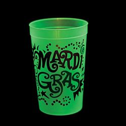 7in Tall Extra Large Glow in the Dark Mardi Gras Plastic Cup Glass