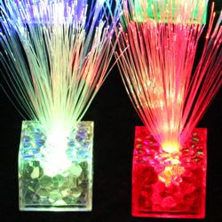 Mini Fiber Optic Centerpiece with Water Cube Light-up Base