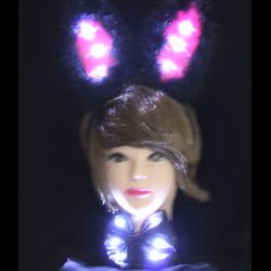 Light-Up Black Satin Bunny Ears and Bowtie