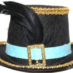 3in Wide x 6in Tall Black Mini top Hat/ Plastic Voodoo Grooms Hat With Metal Hair Clip
