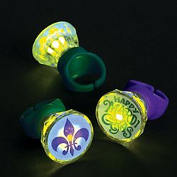 1 1/2in Plastic Light-Up Mardi Gras Diamond Rings