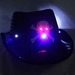 Black Sequin Fedora with LED Light-Up Skull
