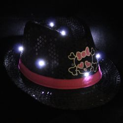 Black Sequin LED Light-Up Fedora with Girly Skull