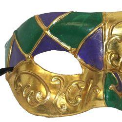 Venetian Mardi Gras Paper Mache Masquerade Mask