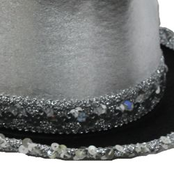 11 1/2in Wide x 5in Tall Silver Velvet Top Hat
