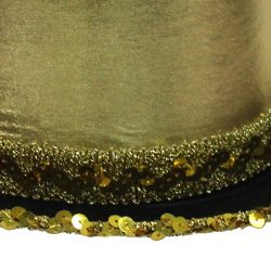 11 1/2in Wide x 5in Tall Gold Velvet Top Hat