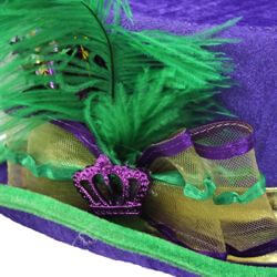 5in Tall Velvet Mardi Gras Top Hat