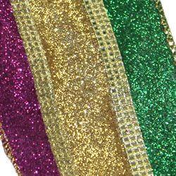 2 1/2in x 30ft Metallic Stripe Mardi Gras Glitter Ribbon