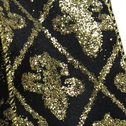 2 1/2in x 30ft Glitter Black/ Gold Fleur De Lis Check Ribbon