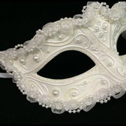 White Wedding Mask with Glitter Scrollwork and Pearls