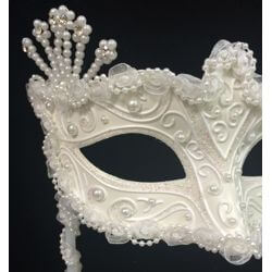 White Wedding Mask with Glitter Scrollwork and Pearls on a Stick