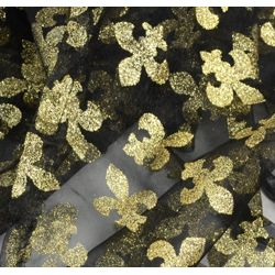 Black and Gold Glittered Fleur-De-Lis Table Runner