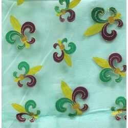 Sheer Green Fleur-De-Lis Table Runner with Glitter Accents