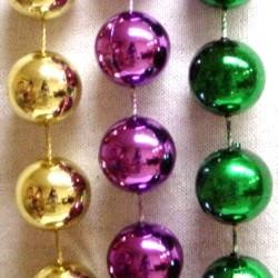 16mm 72in Metallic Purple, Green, and Gold Beads