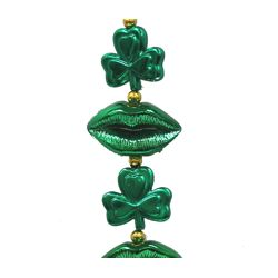 42in St Patrick Shamrock Necklace with Lips