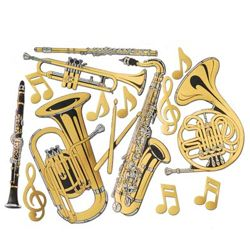 17in - 23 1/2in Tall Gold Foil Musical Instruments Cutouts