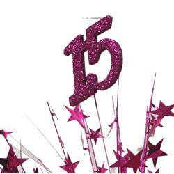 14in Tall Hot Pink Quinceanera Balloon Weight Centerpiece