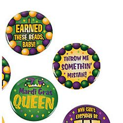 1 1/2in Mardi Gras Metallic Buttons/ Pins