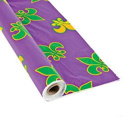 40in x 100ft Purple Plastic Mardi Gras Printed Banquet/ Table Cover Roll