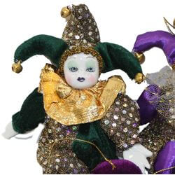 8in Tall x 5in Wide Mardi Gras Plush/ Silk Jester Dolls with Sequin Accents