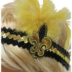 Black and Gold Sequin Feather Headband with Fleur de Lis Design