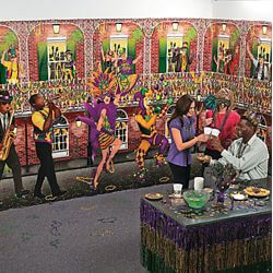 4ft X 30ft Long Mardi Gras Street Backdrop Wall Decoration/ Float Decorations