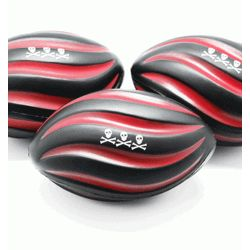 7in Long Red and Black Spiral Footballs with Pirate Design