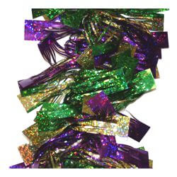 9ft x 5in wide Long Tinsel Shiny Mardi Gras Garland