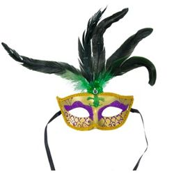 3.25in Wide x 7in Tall Mardi Gras Fancy Plastic Feather Mask