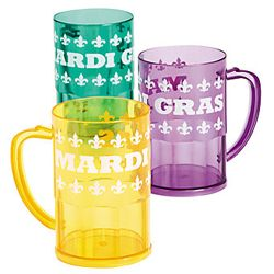 4 3/4in Tall Plastic Mardi Gras Mugs w/ Fleur de Lis Design