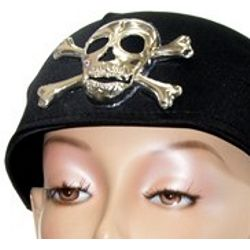 Black Satin Pirate Scarf Hat/ Cap w/ Skull