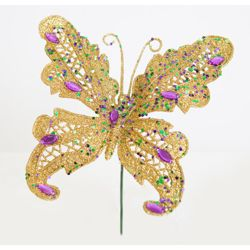 6in Tall Glitter Butterfly w/ Jewels Pick