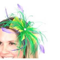Mardi Gras Feather/ Mesh Hair Clip