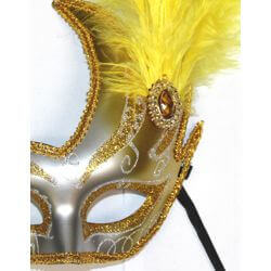 10in Tall x 6.75in Wide Fancy Plastic Mardi Gras Mask w/ Gold Feathers on the Side