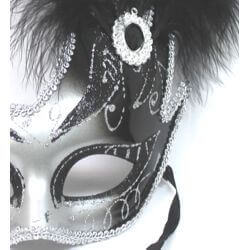 10in Tall x 6.75in Wide Fancy Plastic Mardi Gras Mask w/ Black Feathers on the Side