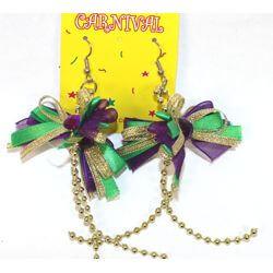5in Long Mardi Gras Ribbon Earrings