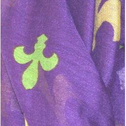 72in Long Mardi Gras Infinity Scarf w/ Fleur de Lis Design