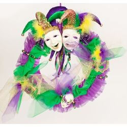 16in Mardi Gras Wreath w/ Jester Faces/ Mask Decorations