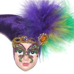 Mardi Gras Jester Head Pin w/ Feathers