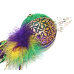 42in Mardi Gras Scepter w/ Ribbon and Feathers Decorations