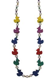 42in Mardi Gras Baby Rubber Ducks Necklace/ Mini Ducks