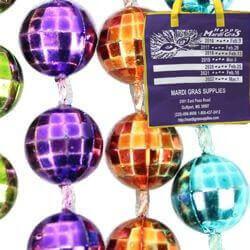 7mm 33in Metallic Neon 6-Color Mardi Gras Beads