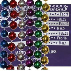 Mardi Gras Supplies bag with 60 dz of assorted Mardi Gras throw beads inside