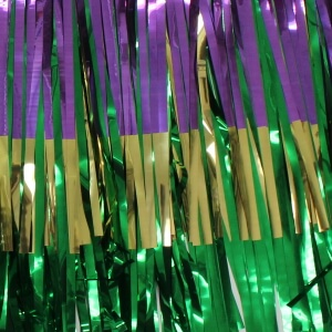 Three Layers Purple/Green/Gold 15 Inches Wide x 10ft Long Mardi Gras Fringe