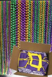 Purple/ Green/ Gold Float Rider Big Throw Bead Mix with zipper bag