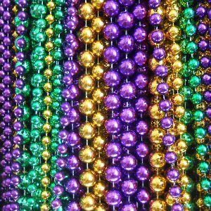 Assorted Mardi Gras throw beads for Carnival parade krewes