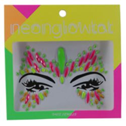 Multi Neon Color Face/ Body Jewels/ Tattoo Butterfly Design
